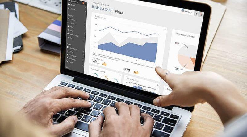 MacBook z wykresem na ekranie