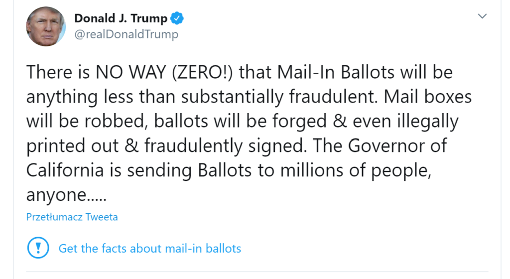 Donald Trump głosowanie korespondencyjne