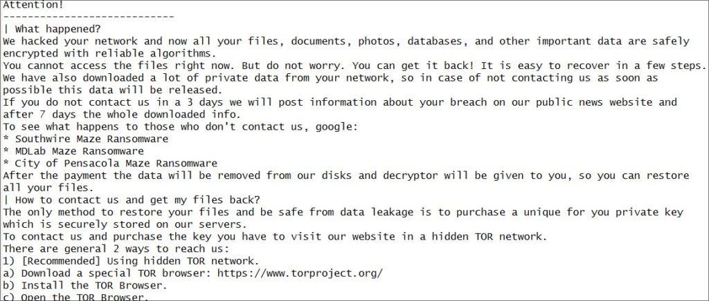 Canon ransomware letter