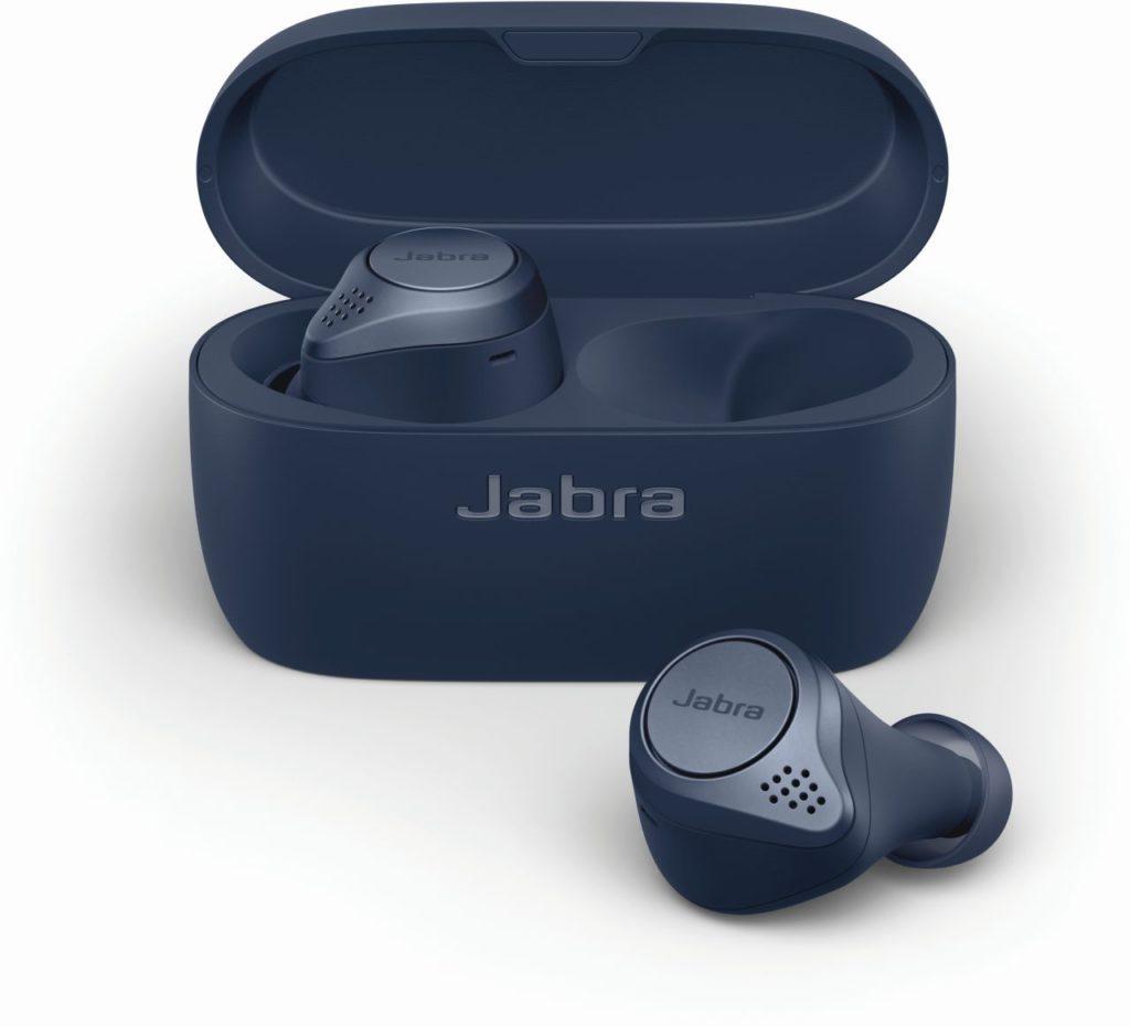 Jabra Elite Active 75t Navy_cradle _ earbud front LB