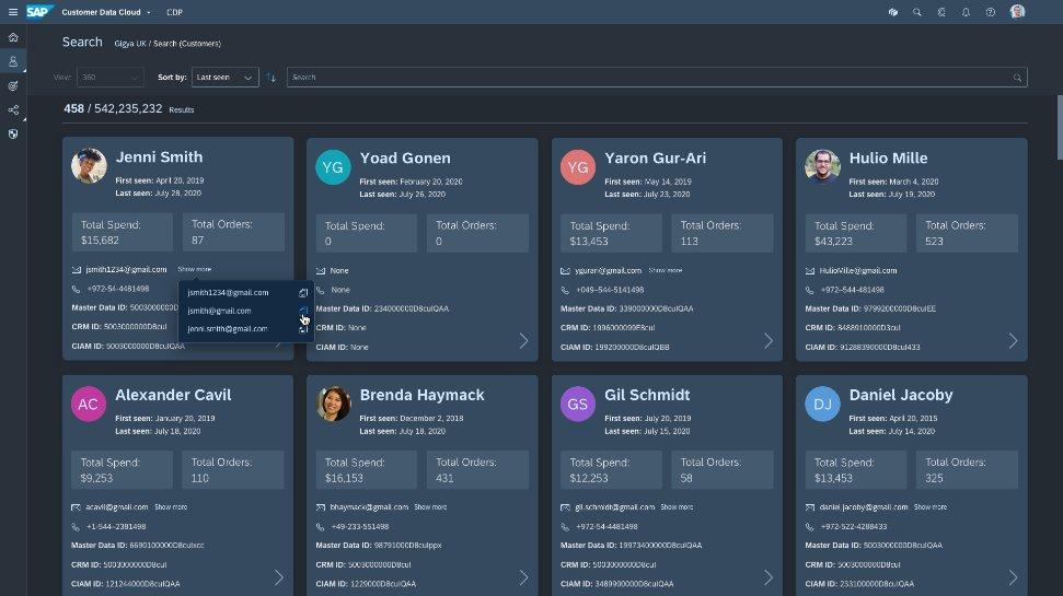 SAP Customer Data Platform wyszukiwanie
