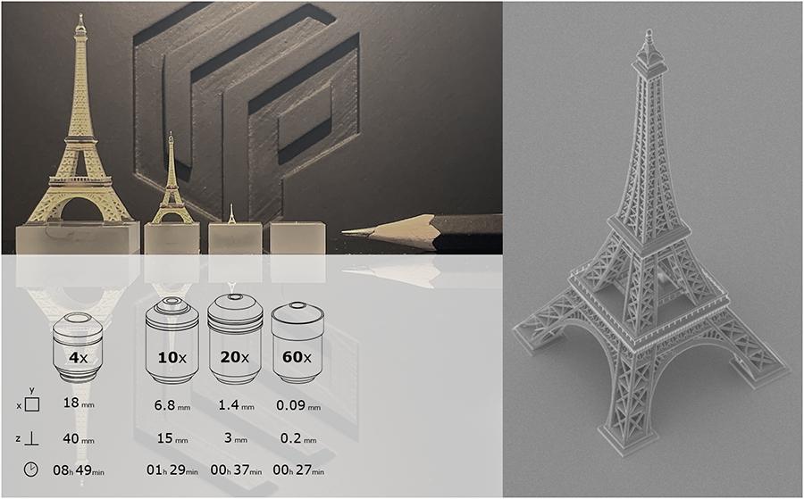 UpNano Druk 3D nanoskala wieża Eiffla