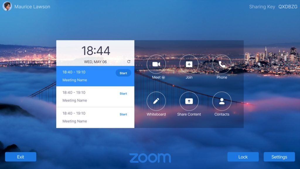 Lenovo ThinkSmart View for Zoom Approved Marketing Zoom Home Screen