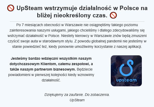 UpSteam koniec