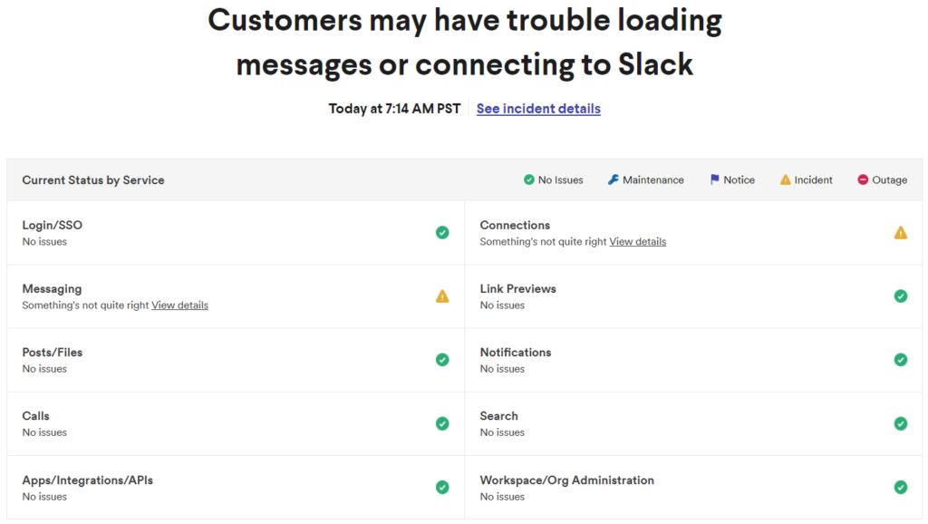 Slack niedziała awaria komunikat aplikacji
