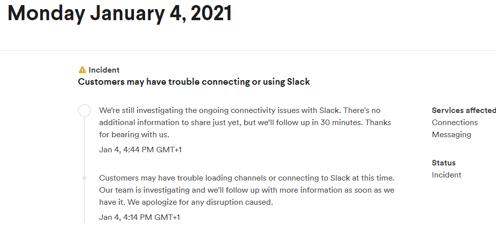Slack niedziała awaria komunikat firmy