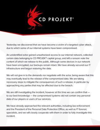 cyberpunk-2077-wiedzmin-3-gwent-kody-zrodlowe-gry-hakerzy-wlamanie-ransomware-oświadczenie