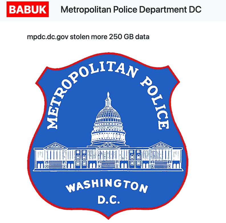 Babuk Metropolitan Police Washington D.C. wyciek danych