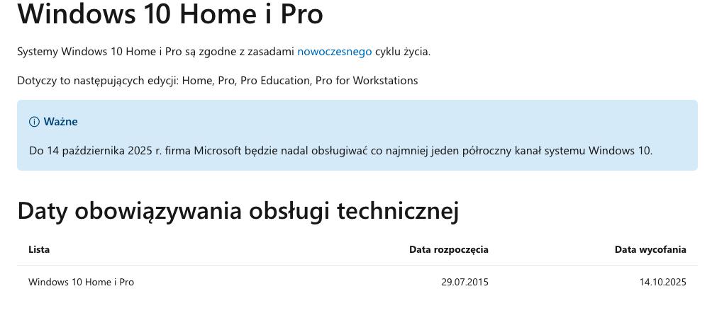 Windows 10 wsparcie