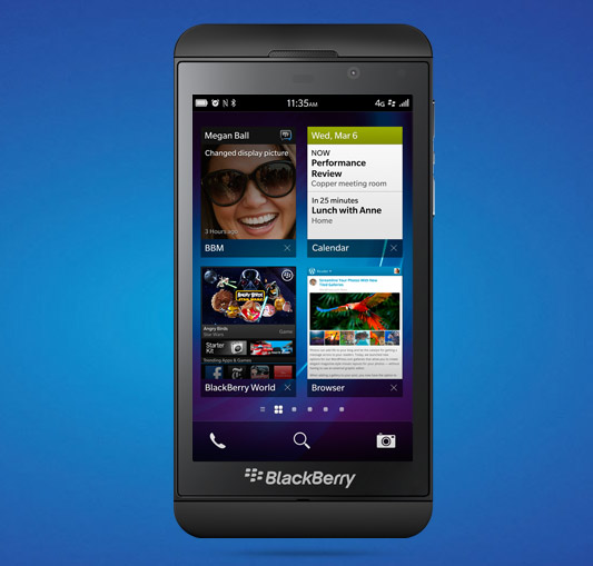 BlackBerry Z10 blue background