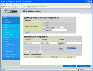 System Default Gateway Configuration